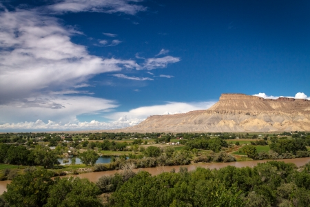 View of Colorado River and the Grand Valley in Palisades Colorado Stock Photo