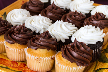 Rows of small chocolate and vanilla frosted cupcakes on decorated serving platter