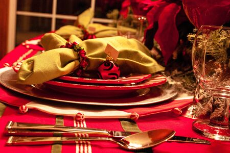 Decorated Christmas dinner holiday table scape
