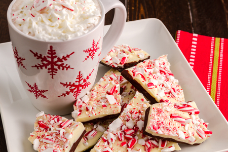 Homemade chocolate peppermint bark with cup of hot chocolate photo