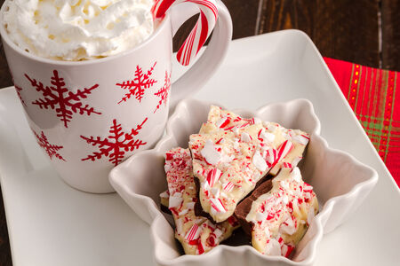 Christmas display of traditional chocolate peppermint bark candy photo