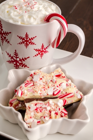 Snowflake mug of hot cocoa and festive bowl filled with chocolate peppermint bark photo