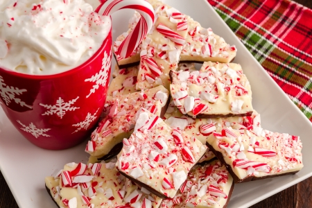 Chocolate peppermint bark on white plate with red snowflake mug filled with hot cocoa and whipped cream