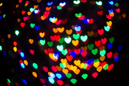 abstract heart shaped multi colored christmas lights stock photo 24450429