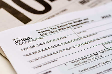 Tax Form 1040ez With Separate Set Of Instructions Stock Photo