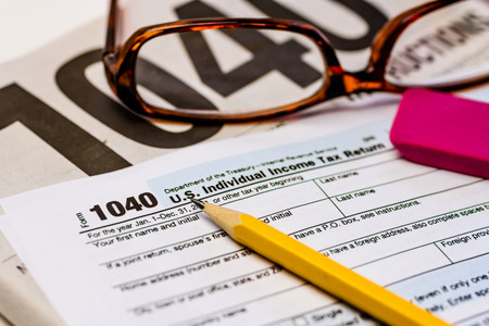 Tax Form 1040ez And Instructions With Pencil Pink Eraser And