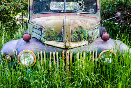 junk: Close up of front of abandoned green and blue pickup truck rusting in a field on summer day