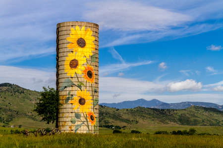 Rural farm silo with painted sunflowers and old farm equipment on sunny summer morning in mountain foothills