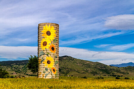 Rural ranch silo with painted sunflowers and old farm equipment on sunny summer morning in mountain foothills