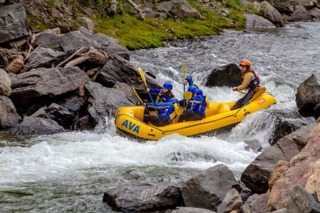 guides: CLEAR CREEK, COLORADOU.S.A. - August 31, 2014: Late season white water rafting adventure continues on the Clear Creek River just 30 minutes from Denver on August 31, 2014 in Clear Creek, Colorado
