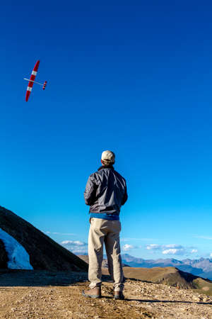 JONES PASS-EMPIREPARSHALL, COLORADOU.S.A. – September 7, 2014: Model airplane and drone testing on the top of the Continental Divide at Jones Pass wilderness area in the Colorado Rocky Mountains on September 7, 2014 in EmpireParshall, Colorado