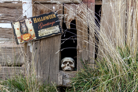 haunted house: Creepy Halloween skull in old abandoned wood building with Halloween greetings sign Stock Photo