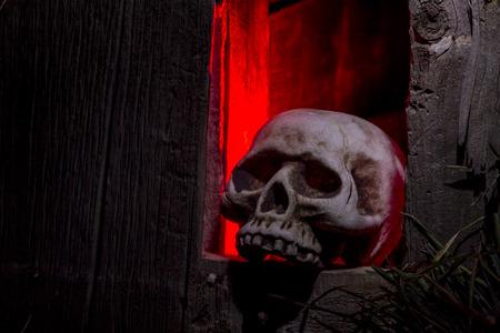 rote ampel: Scary Halloween Sch�delknochen sitzt Loch in alten, verlassenen Holzhaus mit rotem Licht beleuchtet