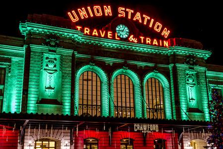 denver colorado: DENVER COLORADO  U.S.A. - December 7, 2014: Holiday light display at Denvers historic Union Station Train Depot on December 8, 2014 in Denver, Colorado