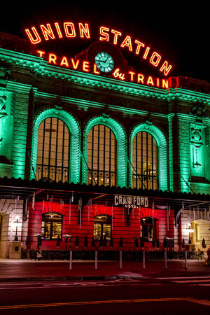 DENVER COLORADO  U.S.A. - December 7, 2014: Holiday light display at Denvers historic Union Station Train Depot on December 8, 2014 in Denver, Colorado