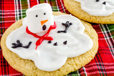 Close up of melting snowman sugar cookie sitting on red and green checkered holiday napkin photo