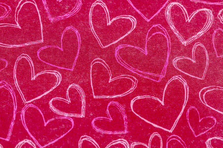 Red chalk board background with hand drawn pink and white hearts Stock Photo