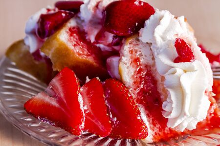 shortcake: Plate of homemade strawberry shortcake with fresh strawberries and strawberry sauce topped with whipped cream