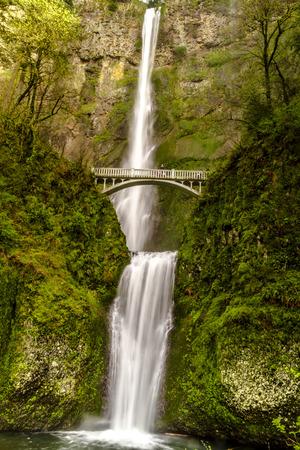 natural bridge state park: Scenic Multnomah Falls along the Columbia River in the Columbia River Gorge Oregon Stock Photo