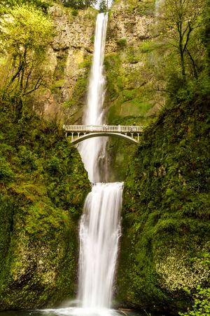 rushing water: Scenic Multnomah Falls along the Columbia River in the Columbia River Gorge Oregon Stock Photo