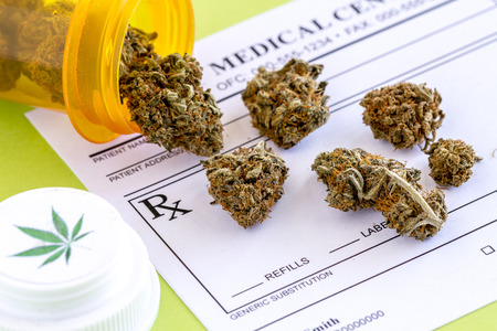 medicinal leaf: Medical marijuana buds spilling out of prescription bottle with branded lid onto blank medical prescription pad on green background Stock Photo