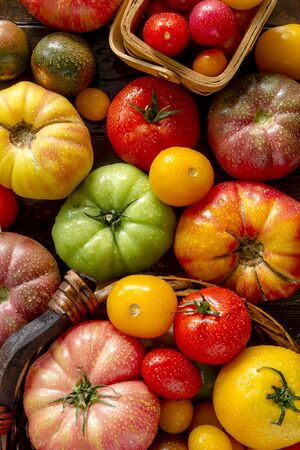 lycopene: Colorful assortment of fresh organic heirloom tomatoes sitting on wooden table