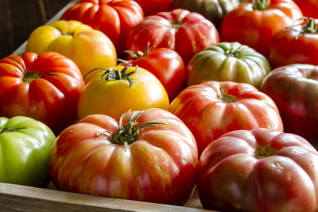 Wooden box filled with fresh vine ripened heirloom tomatoes from farmers market Stock Photo