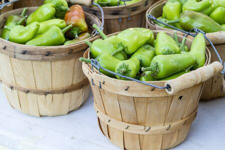 bushel: Fresh organic green and red fresno peppers in brown bushel baskets
