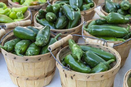bushel: Fresh organic jalapeno peppers in brown bushel baskets