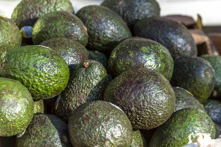 organically: Close up of fresh avocados