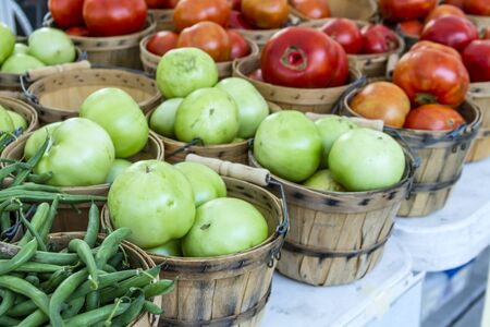 bushel: Fresh organic green and red tomatoes in brown bushel baskets sitting on table at local farmers market