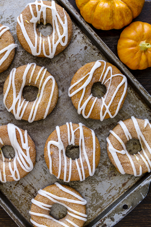 Close up of baking pan filled with homemade baked cinnamon pumpkin donuts with apple cider drizzle and small pumpkins on the side