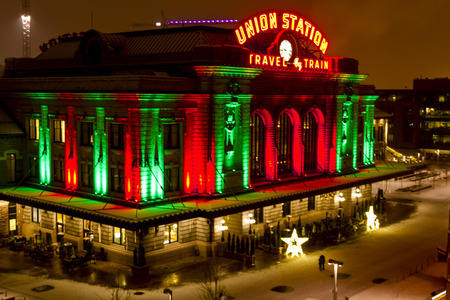 denver colorado: Historic landmark Union Station in downtown Denver Colorado decorated with holiday lights on snowy winter night