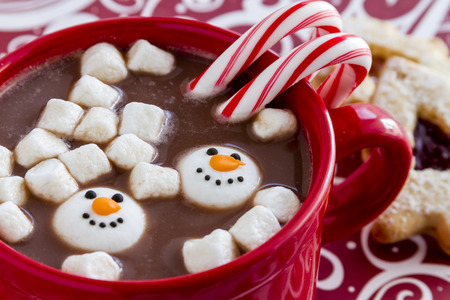 peppermint candy: Red mug filled with hot chocolate with snowman shaped marshmallows, peppermint candy canes and Christmas cookies on red swirled background