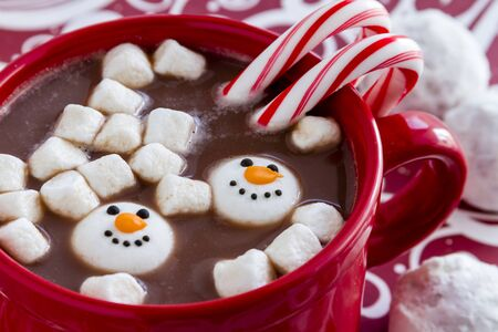 peppermint candy: Red mug filled with hot chocolate with snowman shaped marshmallows, peppermint candy canes and snowball cookies on red swirled background