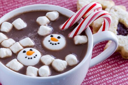 peppermint candy: White mug filled with hot chocolate with snowman shaped marshmallows, peppermint candy canes and Christmas cookies on red Merry Christmas background