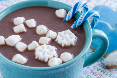 Blue mug filled with hot chocolate with snowflake marshmallows, blue candy canes and frosted mitten cookies Stock Photo