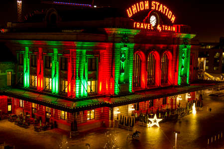 christmas in denver: DENVER COLORADO  U.S.A. - December 13, 2015: Holiday light display at Denvers historic Union Station Train Depot on December 13, 2015 in Denver, Colorado Editorial