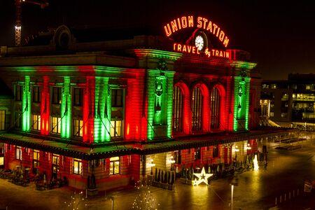 denver at christmas: DENVER COLORADO  U.S.A. - December 13, 2015: Holiday light display at Denvers historic Union Station Train Depot on December 13, 2015 in Denver, Colorado Editorial