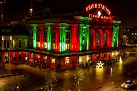 denver colorado: DENVER COLORADO  U.S.A. - December 13, 2015: Holiday light display at Denvers historic Union Station Train Depot on December 13, 2015 in Denver, Colorado Editorial