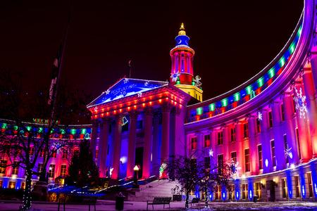 denver co: DENVER COLORADO  USA - November 29, 2015, Special holiday light display of landmark or Denver City and County Building November 29, 2015 in Denver, Colorado Editorial