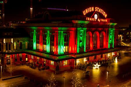 light display: DENVER COLORADO  U.S.A. - December 13, 2015: Holiday light display at Denvers historic Union Station Train Depot on December 13, 2015 in Denver, Colorado Editorial