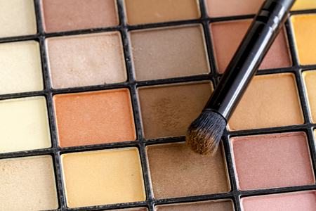 nudes: Cosmetic brush with brown eye shadow dust sitting on top of palette of pale nude eye shadow shades