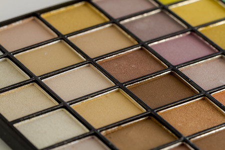 Close up of large pale nude palette filled with matte and shimmering eye shadow shades