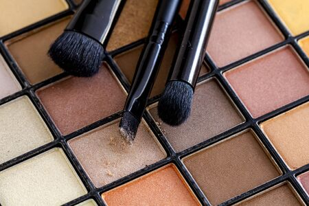 Three cosmetic brushes with light brown eye shadow dust sitting on top of palette of pale nude eye shadow shades Stock Photo
