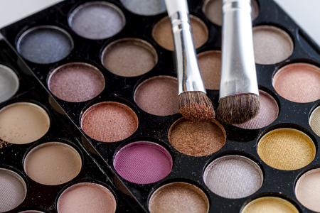 Cosmetic brush with brown shimmering eye shadow dust sitting on top of palette of nude eye shadow shades
