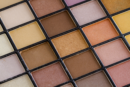 Close up of pale colorful palette of eye shadow colors Stock Photo