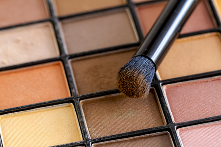 Cosmetic brush with brown eye shadow dust sitting on top of palette of pale nude eye shadow shades