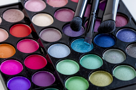 nudes: Colorful palette of eye shadows in a variety of shimmering colors with three cosmetic brushes