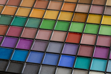 nudes: Large colorful palette filled with matte and shimmering eye shadow shades Stock Photo